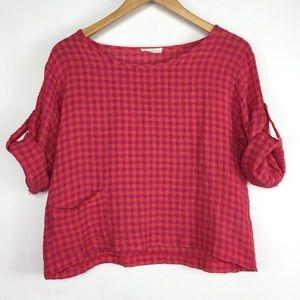 Luukaa Red Pink Gingham Linen Crop Top Blouse